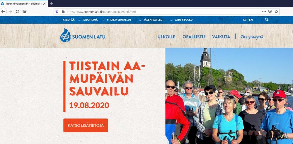 Miksi tapahtuma ei näy Suomen Ladun tapahtumakalenterissa?