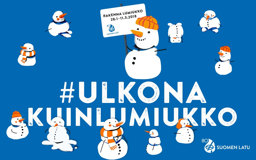 Ulkona kuin lumiukko -kampanja starttaa sunnuntaina